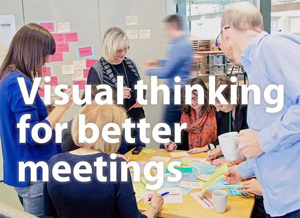 This image displays the title of the webinar, visual thinking for better meetings.